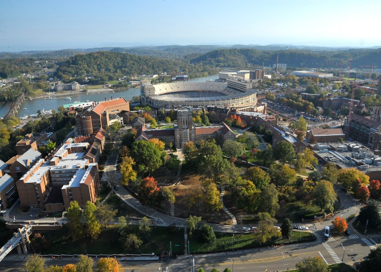 Aerial photograph of the University of Tennessee hill