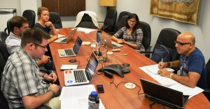 Bharat Mehra leads a conference call with the State Department and graduate students to discuss international correction reform and human rights protections.