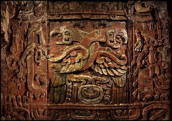 A replica of this stucco Maya relief panel, which was carved around 450 CE in Copan, Honduras, is featured in Maya: Lords of Time. Photo courtesy of the Penn Museum