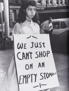 """Scene from a protest, believed to be circa 1956, in front of Rich�s department store in downtown Knoxville that is featured in the documentary """"Say It Loud: Knoxville During the Civil Rights Era.� Photo courtesy Knoxville News-Sentinel"""