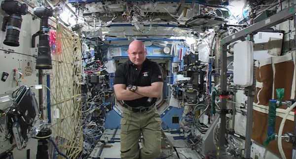 NASA Commander Scott Kelly gives a final interview from aboard the International Space Station in this image taken from a video from the space agency. Kelly, a graduate of the UT Space Institute, returned to Earth late Tuesday after a year in space.