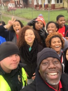 Tyvi Small, in the forefront, takes a selfie with some of the students from the Knoxville Area Urban League's National Achievers Society.
