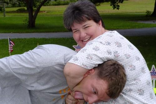 86945_Kim and DAniel Harrison clown around