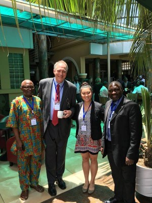 Left to right: Ayoade Kuye, director of the Center for Nuclear Energy Studies at the University of Port Harcourt in Nigeria; Russ Hirst, director of technical communication concentration in the UT Department of English and editor of the International Journal of Nuclear Security; Grace Rotz, undergraduate student of English and intern leader for the journal; and Hubert Foy, director of the African Centre for Science and International Security