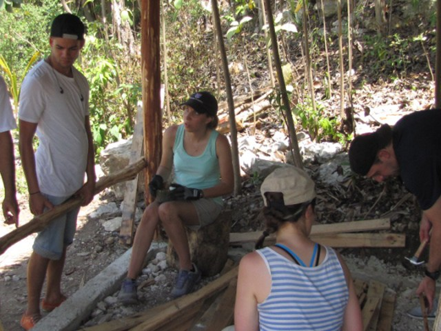 UT students aid in the construction of a cabana in Casa Blanca, across the harbor from Havana, Cuba. The group from UT was in Cuba as part of a program helping with work projects and exploring the culture and history of Cuba.