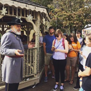 Students learn the history of Lenoir City during their familiarization tour from Civil War reenactor and local historian Gerald Augustus.