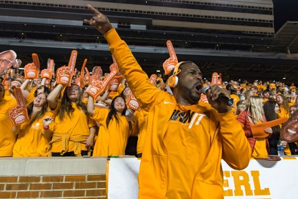 DJ Sterl the Pearl (Sterling L. Henton) ramps up the crowd. Part of the festivities as UT set the record for the Largest Human Letter live on the Today Show, March 29, 2017. Photo by Daryl Johnson UT Creative Communications.