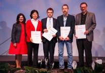 Research and Creative Achievement - Chancellor Davenport, Professor Hairong Qi, Professor Robert Grzywacz, Professor Todd Freeberg, and Professor Mark DeKay.
