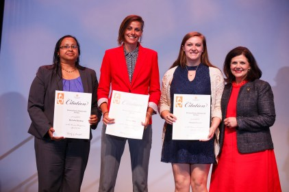 Extraordinary Community Service Award - Students Michelle Harding, Caitlin Mize, Hayley Pennesi and Chancellor Davenport.