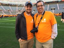 Resident assistant Dalton Mitchell and UT Housing's Jerry Adams.