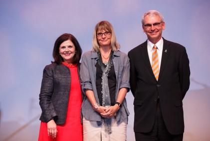 Jefferson Award - Chancellor Davenport, Associate Professor Michelle Brown and Interim Provost John Zomchick.