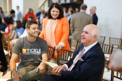 John Tickle talks with a student as Chancellor Beverly Davenport looks on during the Join the Journey launch at Strong Hall on September 22, 2017. Photo by Steven Bridges