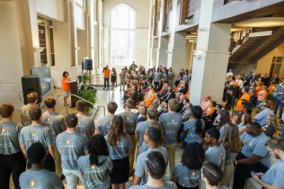 Chancellor Beverly Davenport speaks to attendees of the community launch of the Join the Journey campaign at Strong Hall on September 22, 2017. Photo by Steven Bridges