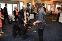 David Dupper pets a therapy dog who was as part of the College of Social Work's interactive display at the Join the Journey kick-off event at the Knoxville Convention Center.