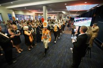 The Pride of the Southland Band marches through the Join the Journey kick-off event at the Knoxville Convention Center on September 22, 2017. Photo by Steven Bridges