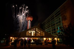 Fireworks explode over the Sunsphere to end the Join the Journey launch event.
