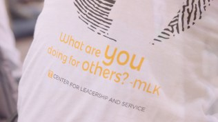The t-shirt design for Center for Leadership and Service's 2018 MLK Day of Service.