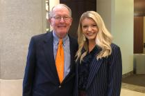 Senator Lamar Alexander poses for a photograph with Savannah Jacoby, a senior from Columbia, Tenn., who is studying journalism and electronic media. She's been selected to participate in the inaugural Washington Program.