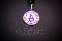 Outstanding students and faculty members are recognized during the Chancellor's Honor Banquet at the Knoxville Convention Center on Tuesday, April 17, 2018. Torchbearer Award medallion...Photo by Erik Campos..41234