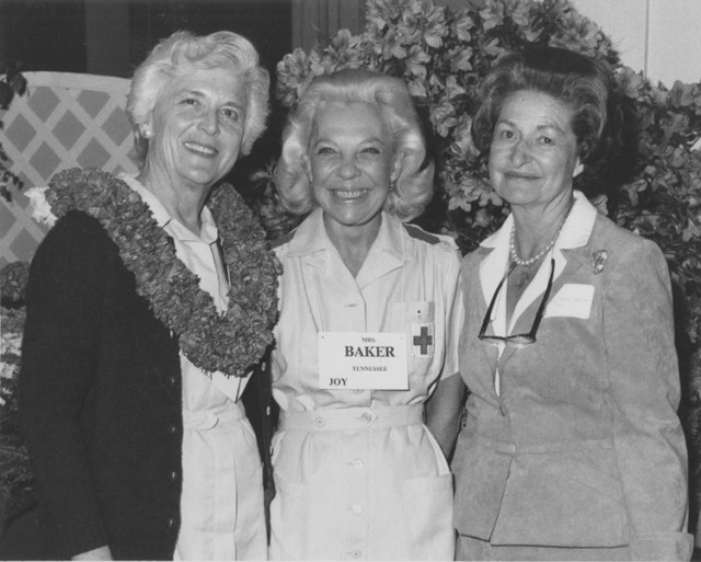 Barbara Bush, Joy Dirksen Baker, and Lady Bird Johnson at the Senate Wives' Luncheon, 1981.