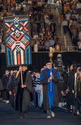 The academic procession begins as graduates of the University of Tennessee's College of Arts and Sciences participate in their commencement at Thompson-Boling Arena on Saturday, May 12, 2018...Photo by Erik Campos