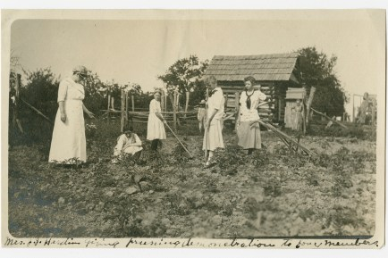 Mrs. J. J. Hardin giving pruning demonstration to four members. Virginia P. Moore Collection, Special Collections, University of Tennessee Libraries.