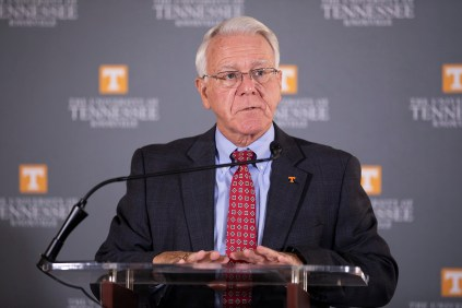 Interim Chancellor Wayne Davis introduces Dr. Bill Fox, Chancellor's Professor and Ergen Professor of Business, before he delivers highlights of a report about the ecomonic impact of the University of Tennessee on the State of Tennessee during a press conference in the Tyson Alumni House Monday, Aug. 27, 2018.
