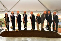 Groundbreaking in October 2015 for the Ken and Blaire Mossman Building. From left to right, Deb Welsh, head of the Department of Psychology; Theresa Lee, dean of the College of Arts and Sciences; Chancellor Jimmy G. Cheek; Michael Mossman; Bob Rider, dean of the College of Education, Health, and Human Sciences; Chris Boake, associate dean of the College of Arts and Sciences; Dan Roberts, head of the Department of Biochemistry and Cellular and Molecular Biology; Steve Wilhelm, microbiology faculty and Kenneth and Blaire Mossman Professor; and Dallas Donohoe, faculty member in the Department of Nutrition. Photo by Nick Myers