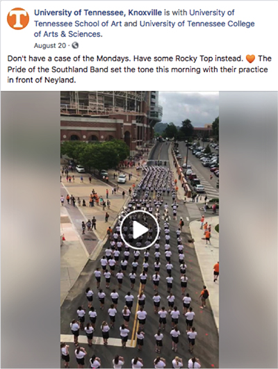 Facebook screen grab on band playing Rocky Top