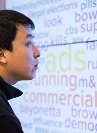 Graduate student James Zhang examines popular words associated with the Super Bowl.