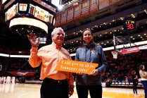 Bill Fox, the Randy and Jenny Boyd Distinguished Professor and Chancellor's Professor, is recognized at Thompson-Boling Arena on February 13. Fox also is the director of the Boyd Center for Business and Economic Research.