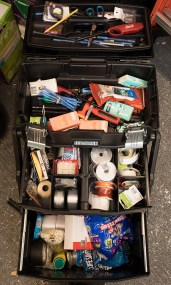 "Gladden's rolling storage case—""Max""— is stuffed with emergency supplies."