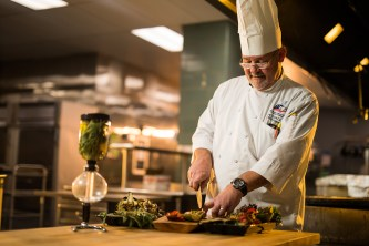 Chef Greg Eisele inside the UT Conference Center kitchen on March 05, 2019. Photo by Steven Bridges