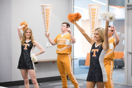 UT Cheerleaders and Dance Team visit during Professor Smokey's Art Class at the Student Union Grand Opening at Student Union on March 29, 2019. Photo by Steven Bridges
