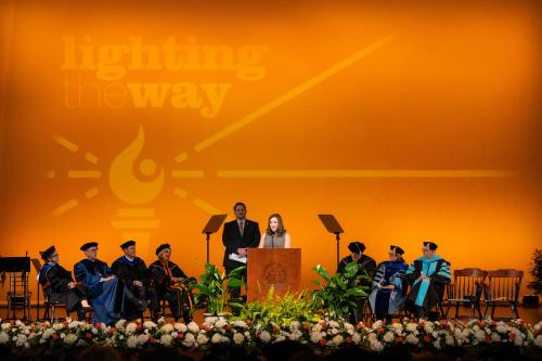 the investiture ceremony for Chancellor Donde Plowman inside the