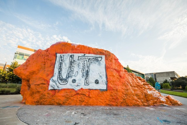 "The Rock is painted with the t-shirt designed by a bullied elementary kid in Florida on September 09, 2019. A Florida student obsessed with the University of Tennessee wanted to represent the Volunteers during his elementary school's ""College Colors Day,"" but didn't own any of their apparel -- so he took the matter into his own hands. Photo by Steven Bridges/University of Tennessee"