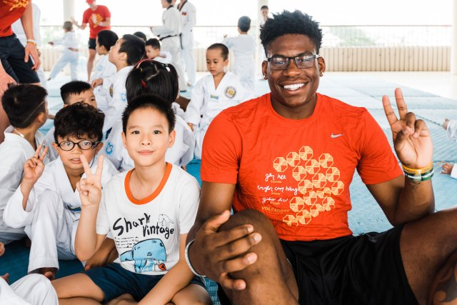 Admiral Schofield and Vietnamese boy