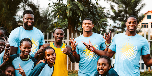 Tennessee Football players Matthew Butler (left), Cheyenne Labruzza (center), and Josh Palmer (right) in Rwanda in summer 2019. Photo: Caitlin Ryan
