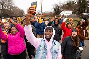 UT students, faculty, and staff join the Knoxville community to participate in the Martin Luther King Jr. Day parade