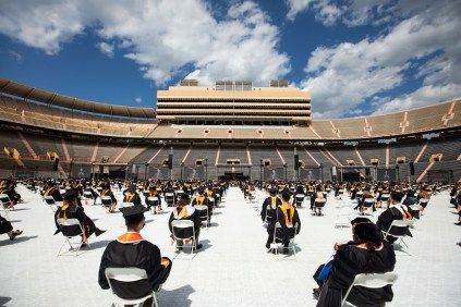 Spring 2021 Graduate and Professional Hooding (including Law and Veterinary Medicine) on Shields-Watkins Football Field inside Neyland Stadium on May 07, 2021.