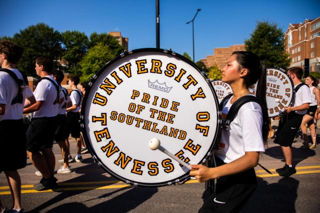 Pride of the Southland Marching Bank practices their gameday performance