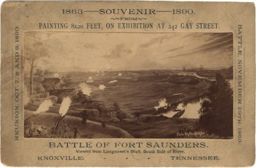 Souvenir print of the Battle of Fort Saunders, created for an 1890 reunion of the Grand Army of the Republic, a fraternal organization of Union Army veterans.