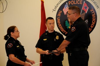 Troy Lane gets officially sworn in as chief of police.