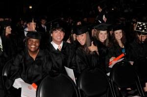 UT graduates celebrate at Sunday's commencement ceremony.