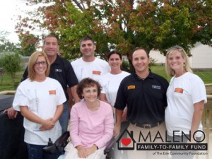 People involved in the Maleno Family to Family Fund project. They are, in front, Julie Maleno, Pat Fronzaglia, and, in back, John Maleno, Dominic Maleno, Anne Maleno, Jarrod Maleno, and Natalie Washburn.