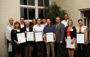 TN_ASLA Conference: Students, faculty and professional affiliates pose with their awards at the Tennessee ASLA Conference. From left, Cliff Brooks of landscape architecture firm CRJA-IBI; Valerie Friedmann, lecturer; Brad Collett, assistant professor of landscape architecture; David Craig of Ross Fowler; Wyn Miller, recent graduate; Nathan Oliver, recent graduate; Henry Minor of Dalhoff Thomas; Sam Henry of Dalhoff Thomas; Mark Focht, president of the national ASLA; Chris Barkley of Hodgson Douglas; Alisha Eley of Kimley Horn; Angelike Angelopoulos, graduate student in landscape architecture.