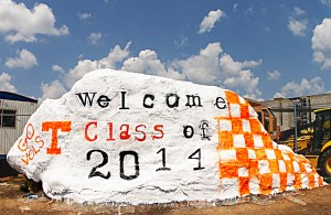 a welcome message to the class of 2014 is painted on the Rock