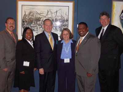 UTPD Capt. Keith Lambert and Cpl. Nicole Collins, UT Knoxville Chancellor Jimmy G. Cheek, and UTPD Interim Chief Debbie Perry, former chief August Washington, and Capt. Jeff Severs (Click for high-resolution image)