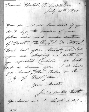 A copy of the letter from Junius Brutus Booth to President Andrew Jackson (Click for large version)