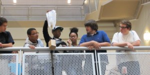 Students participate in the egg drop competition.